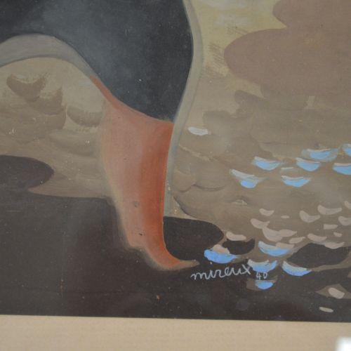 Mireux Dessin en gouache aquarellée. Signé MIREUX 40. La semeuse. Encadrée, sous…