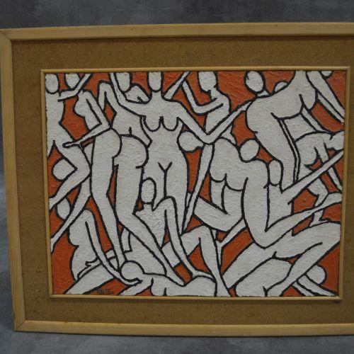 Toile Peinture acrylique sur support bois. Femmes. Signée en bas à droite. Dimen…