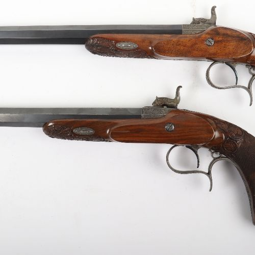 Pair of 54 Bore French Percussion Target Pistols by Gastinne RenettePair of 54 B…