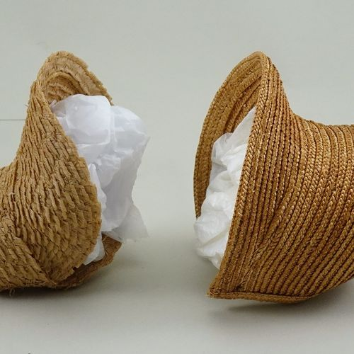 Two early woven straw dolls bonnets, English 1830s, Two early woven straw dolls …