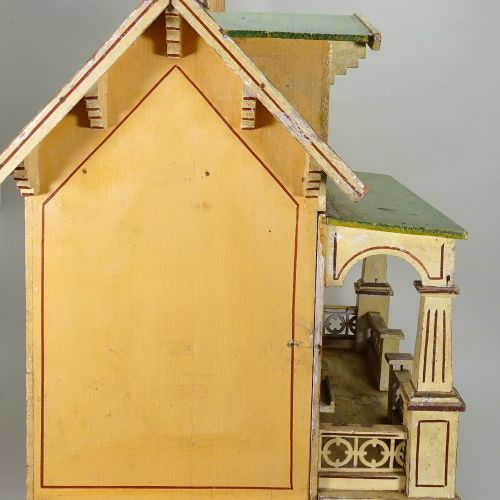 An unusual 'Moko' painted wooden dolls house, German 1920s, An unusual 'Moko' pa…