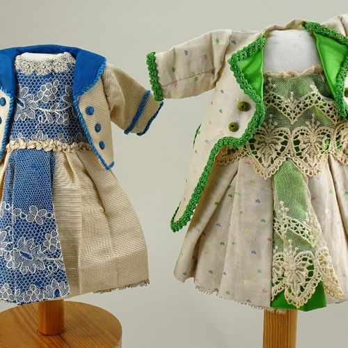 Two good 1880s style dolls dresses for French Bebe, Two good 1880s style dolls d…