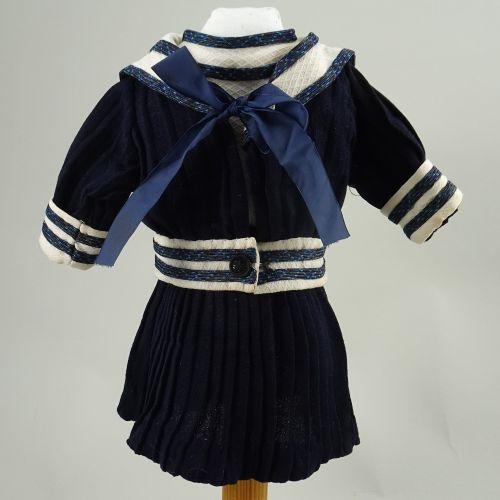 A good navy blue sailor style dress for French Bebe, circa 1890, A good navy blu…