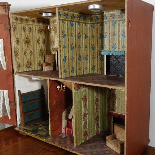 A Silber & Fleming painted wooden box back dolls house, German 1880s, A Silber &…