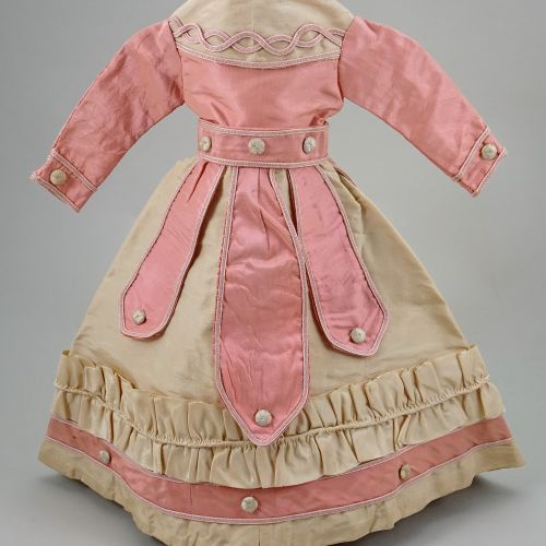 A good 1870s style cream and pink silk French fashion dolls dress, A good 1870s …