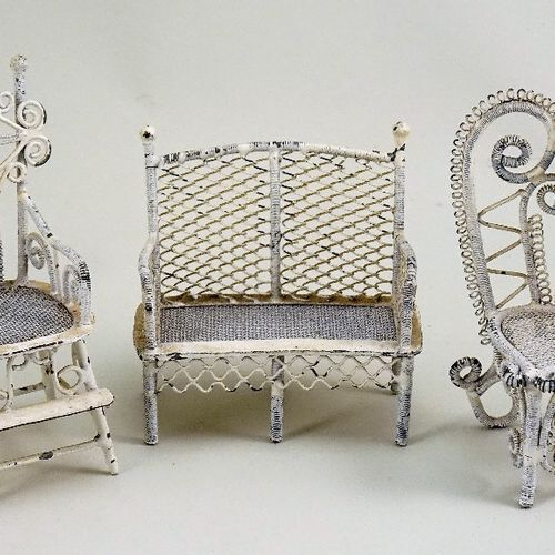 Three pieces of painted metal miniature dolls house furniture, German circa 1890…