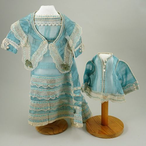 A good 1860s style blue silk French fashion dolls dress with jacket and shawl, A…