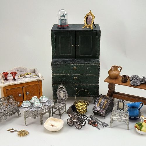 A collection of miniature dolls house furniture and accessories, A collection of…