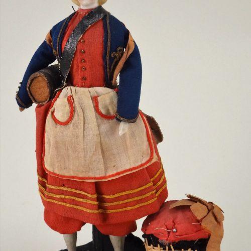 A rare Parian type sewing 'work table companion' shoulder head doll, German circ…