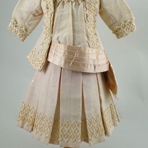 A good original pink/cream dolls outfit for size 8 Bebe, circa 1890, A good orig…