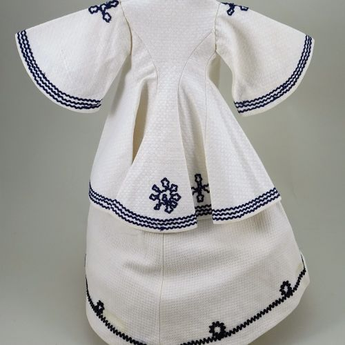 A good 1850s 60s style white pique French fashion dolls dress and panniers, A go…