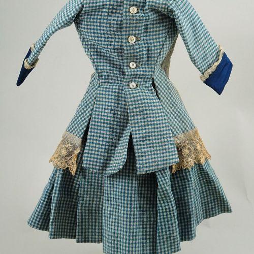 A good original blue check dolls dress for French Bru Bebe, size 7, 1880s, A goo…