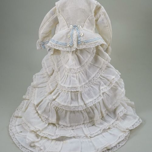A beautiful 1870s style cream cotton French fashion dolls dress and jacket, A be…