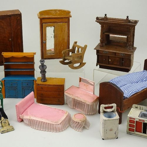 A small collection of dolls house furniture, mainly English circa 1930, A small …