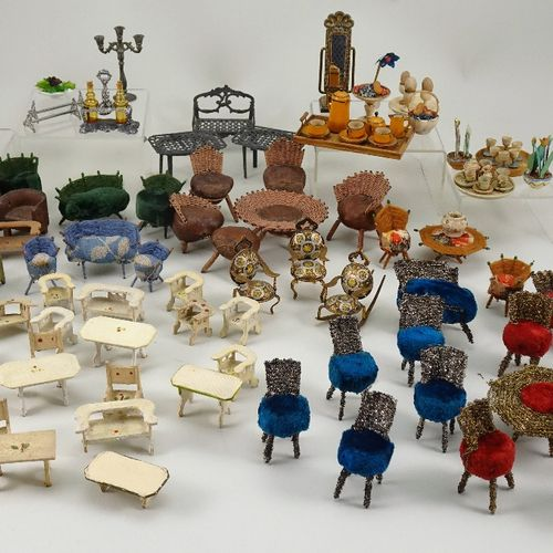 A collection of miniature dolls house furniture and ornaments, A collection of m…