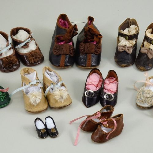 A collection of nine pairs of doll shoes, A collection of nine pairs of doll sho…