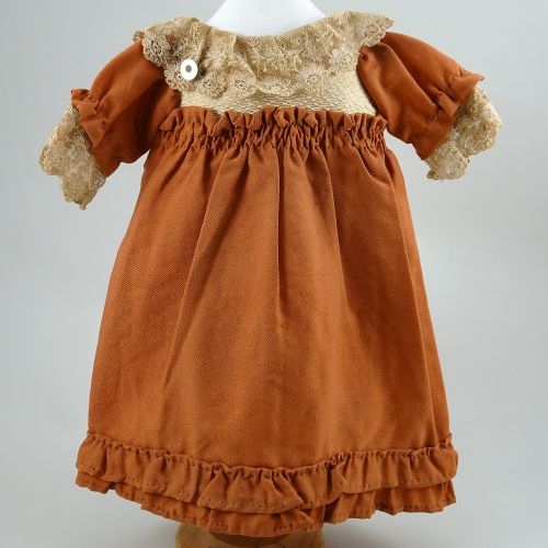 A brown cotton dolls dress for French Bebe, circa 1890, A brown cotton dolls dre…