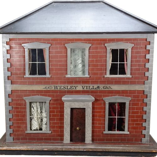 'Wesley Villa' a fine painted wooden red brick Victorian dolls house, English ci…