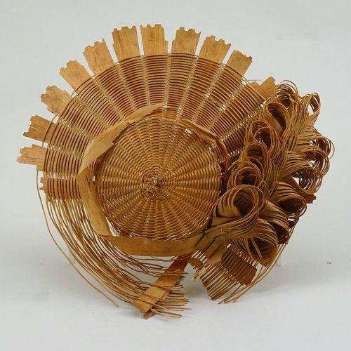 Rare late eighteenth century woven straw dolls bonnet, Rare late eighteenth cent…