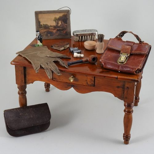 A library table and accessories for gentleman doll, A library table and accessor…