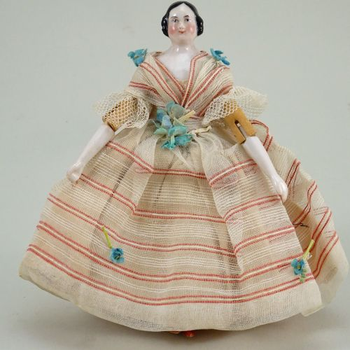 Rare small glazed china shoulder head doll with wooden body, German circa 1840, …