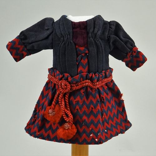 A good original red and navy dolls dress for size 2 French Bebe, circa 1880, A g…
