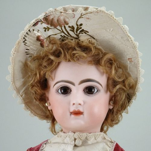 A beautiful closed mouth Tete Jumeau bisque head Bebe, size 10, French, circa 18…