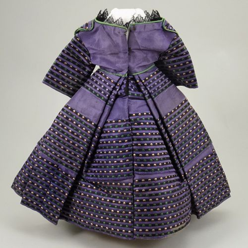 A good 1850s 60s style mauve silk French fashion dolls dress, A good 1850s 60s s…