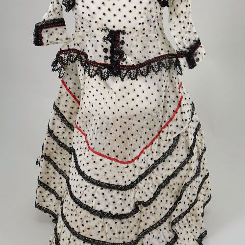 A good 1860s style cream and black polka dot French fashion dolls dress and jack…