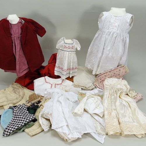 A collection of useful dolls dresses, underclothes and bonnets, various dates, A…