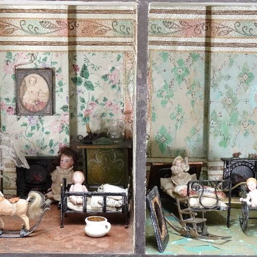 A large furnished Silber & Fleming painted wooden box back dolls house, German 1…