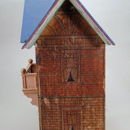 A Moritz Gottschalk model 3581 blue roof dolls house, German circa 1910, A Morit…