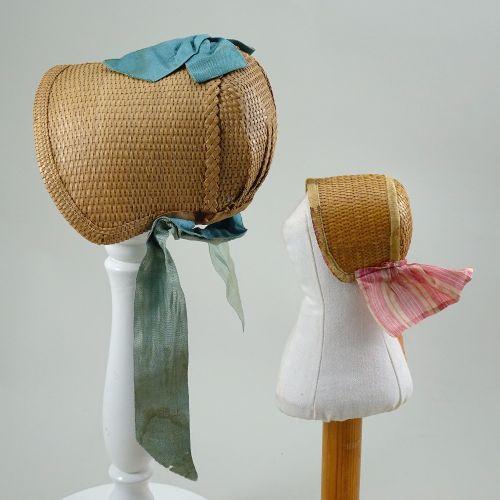 Two early woven straw poke doll bonnets, English 1840s, Two early woven straw po…
