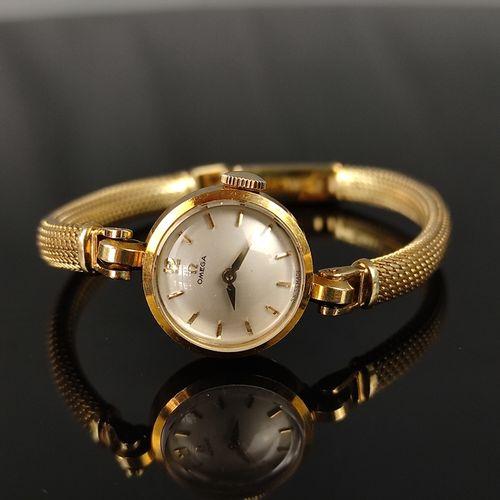 Montre bracelet Omega pour femme, cadran rond avec index en or, diamètre 17mm, b…