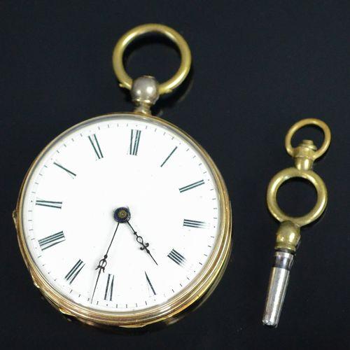 """小怀表,罗马数字表盘,背面装饰有盾徽和小花,标有 """"Cylindre编号43088 Huit rubis"""",585/14K黄金表壳,总重25克,直径3.3厘米,…"""