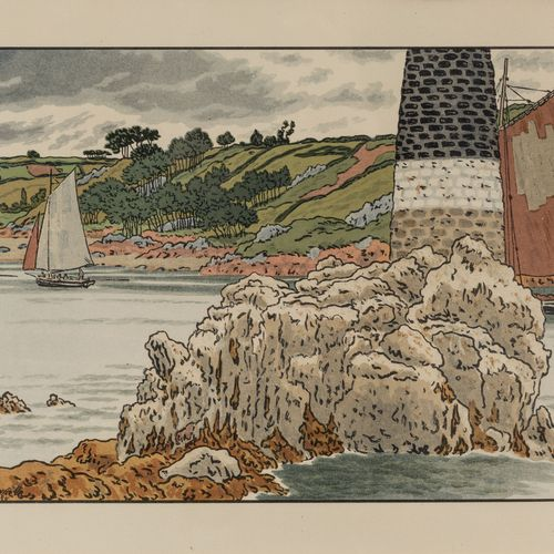 """Henri RIVIERE (Paris, 1864 Sucy en Brie, 1951)  """"La Balise sur le Trieux"""", 1908.…"""