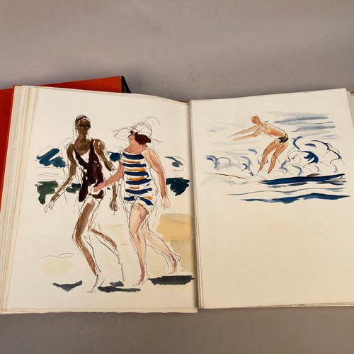 DUNOYER DE SEGONZAC, André (1884 1974). Suite en couleurs et suite en noir des …