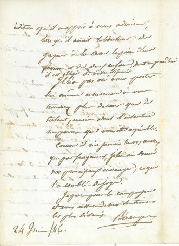 * Pierre Jean de BÉRANGER (1780 1857) poète et chansonnier. L.A.S., 24 juin 1486…