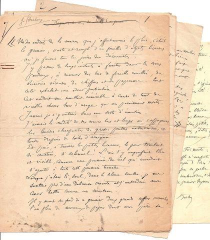* Jules BRETON (1827 1906) peintre et poète. 3 MANUSCRITS autographes (dont 2 si…