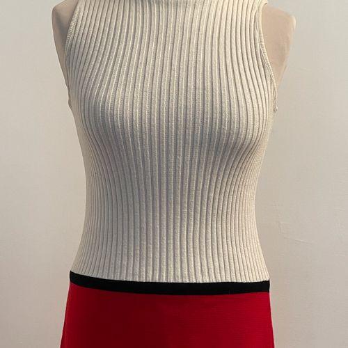 Robe tube en laine color block blanc griotte et noir, sans manche, col roulé.  T…