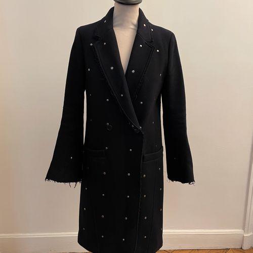 ZADIG VOLTAIRE DELUXE  Long manteau en laine bleu marine et rivets en métal arge…