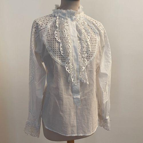 TSUMORI CHISATO  Belle chemise en coton, broderie ajourée et broderie figurant d…