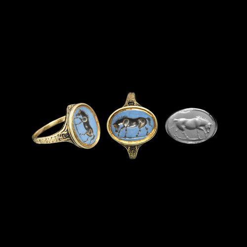 Chevalière en or de la période Stuart avec pierre romaine. Milieu et fin du XVII…