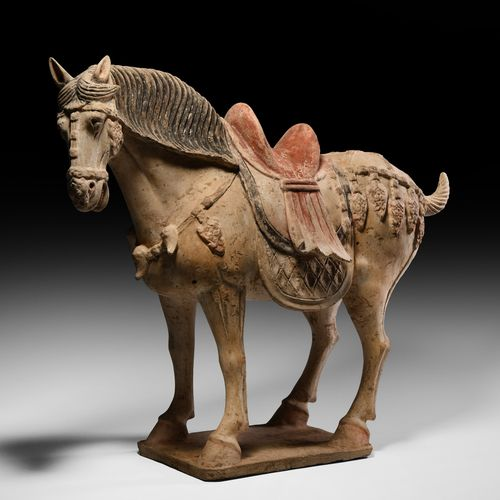 Grand cheval chinois Tang debout. Dynastie Tang, 618 907 AD. Superbe cheval de c…