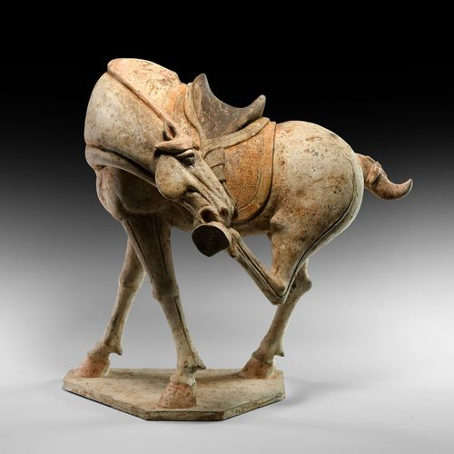 Grand cheval chinois Tang dans une pose artistique. Dynastie Tang, 618 907 AD. S…