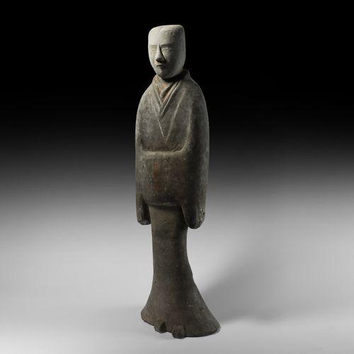Grand Attendant chinois Han en terre cuite. Dynastie Han, 206 avant J. C. 220 ap…