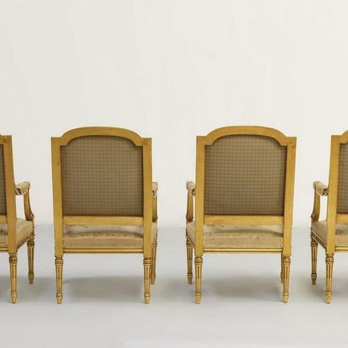 ITALIAN WORK OF 20th CENTURY OEUVRE ITALIENNE DU XXe SIÈCLE Quatre fauteuils et …