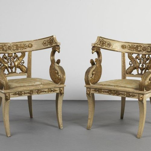 FRANCIA, PERIODO DELL'IMPERO Pair of lacquered and carved wood armchairs with de…