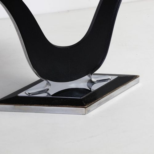 FONTANA ARTE FONTANA ARTE Table console. Métal chromé et bois laqué et verre. Cm…