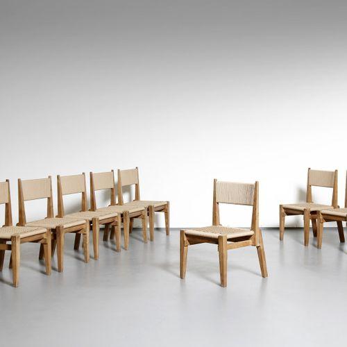 ISOTTA EMILIO (1910 1988) EMILIO Huit chaises fabriquées par Prea. Bois de chêne…
